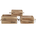 Mobili Rebecca Set of 3 crates Boxes Storage unit Wood Light Natural 17x36x25