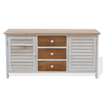 Mobili Rebecca Cupboard Sideboard 3 Drawers 2 Doors Light Brown White 44x90x34