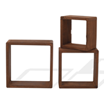 Mobili Rebecca Set of 3 pieces shelves Natural Wood brown Cube Design 26x26x9