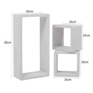 Mensole Quadrate Design.Mobili Rebecca Set 3 Mensole Scaffali Rettangolo Cubo Design Legno 39x20x10 Bianco Grigio