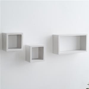 Scaffali E Mensole.Mobili Rebecca Set 3 Mensole Scaffali Rettangolo Cubo Design Legno 39x20x10 Bianco Grigio