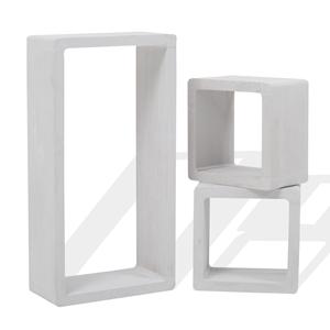 Mensole Per Scaffali.Mobili Rebecca Set 3 Mensole Scaffali Rettangolo Cubo Design Legno 39x20x10 Bianco Grigio