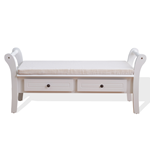 Mobili Rebecca Bench Seat 2 Drawers Pillow Wood White Classic 47,5x108,5x40