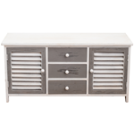 Mobili Rebecca Bench Sideboard 3 Drawers 2 Doors White Wood Gray Retro 44x94x34