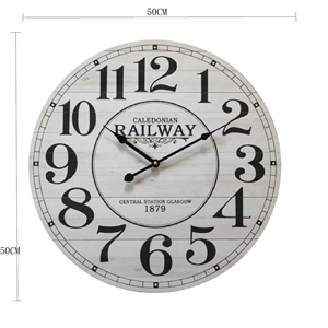 Style Vintage RE6383 Diam/ètre 50 cm x 4,5 cm Horloge de Mur Ronde Blanc Marron Bleu Metal Art Rebecca Mobili Horloge Murale