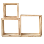 Mobili Rebecca Set of 3 pieces shelves Natural Wood Cube Design shabby 26x26x9