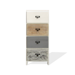 Rebecca Mobili Chest of 4 Drawers White Wood Beige Gray Assembled 79x30x24