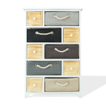 Rebecca Mobili Chest Of Drawers 10 Drawers Wicker Wood White Modern 88x56x32