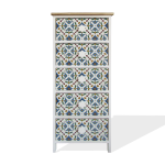 Rebecca Mobili Chest of 5 Drawers Modern Light Wood White Blue 93x40x30