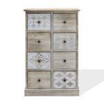 Rebecca Mobili Chest of Drawers 8 Drawers Wood Beige White Entrance 80,5x53,5x25