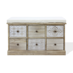 Rebecca Mobili Bench Chest of Drawers Beige 6 Drawers Padded Seat 49x77,5x35