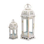 Rebecca Mobili 2 Candle Holders Lanterns Furniture White Metal Retro 35x17,5x15,5