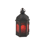 Rebecca Mobili Lantern Candle Holder Ethnic Glass Metal Black Red 17x9x8