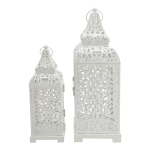 Rebecca Mobili 2 Candle Holder Lanterns White Metal Hall 39x14,5x14,5