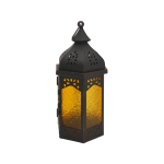 Rebecca Mobili Lantern Candle holder Yellow Black Glass Metal Hall 32x16x14