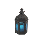 Rebecca Mobili Candleholder Moroccan Style Blue Black Metal Glass 17x9x8