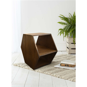 Mobili Rebecca Table De Salon Basse Hexagonale Bois Marron 41x60x60
