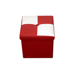 Mobili Rebecca Pouffe Box Storage Beanbag Cube White Red Faux Leather 30x30x30