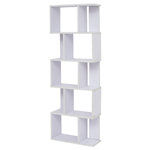 Mobili Rebecca Bookcase Shelving Unit 5 Shelves Wood White Modern 172,5x60x24,5