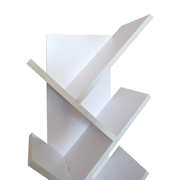 Libreria scaffale 10 ripiani legno bianco stile urban for Scaffale legno bianco