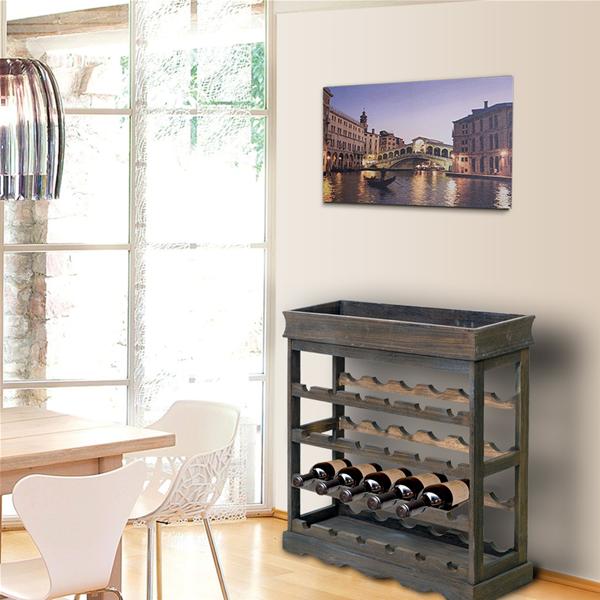 Mobili rebecca cantinetta portabottiglie vino 24 spazi legno marrone cucina ebay - Portabottiglie in legno ikea ...