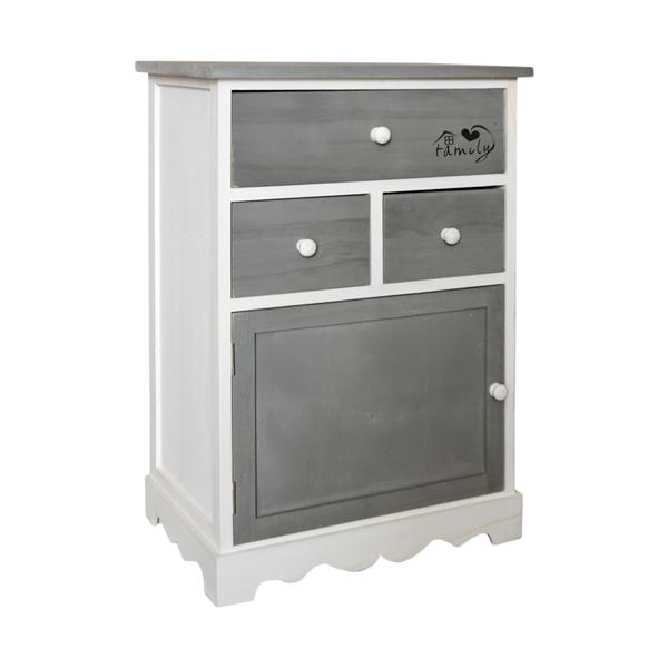 Cassettiera armadietto shabby chic grigio bianco 3 for Mobili 1 anta