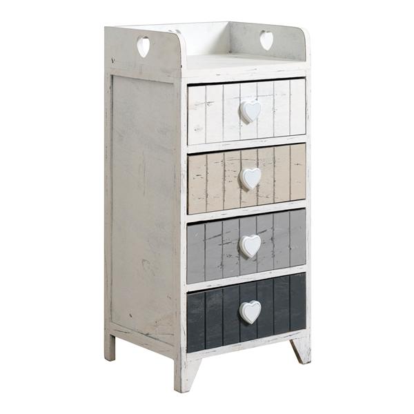 Mobili rebecca cassettiera comodino 4 cassetti bianco shabby cassetti cuore ebay - Pomelli per mobili shabby ...