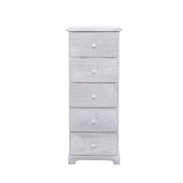 Cassettiera mobile bagno 5 cassetti legno bianco vintage for Paulownia legno mobili