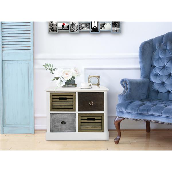 Cassettiera mobile bagno Retrò Vintage Bianco 4 cassetti in legno ...