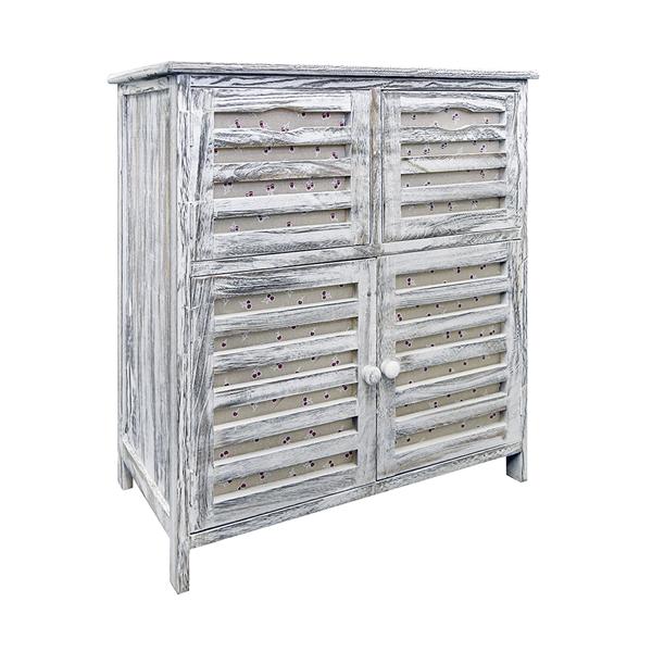 cassettiera mobile bagno 4 ante grigio shabby vintage arredo casa ... - Arredo Bagno Su Ebay