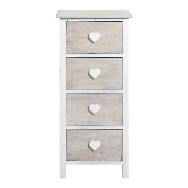 Mobili Rebecca Chest Of Drawers A Beige 4 Handles Heart Shabby Chic