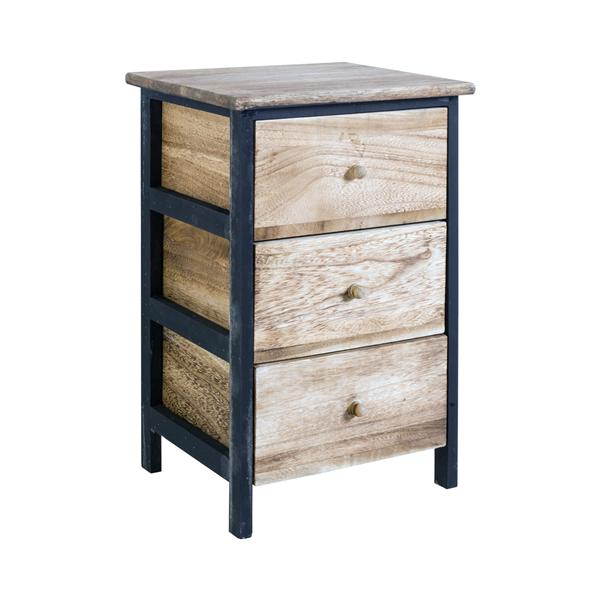 mobili rebecca chevet table de nuit 3 tiroirs bois clair marron retr entr e ebay. Black Bedroom Furniture Sets. Home Design Ideas