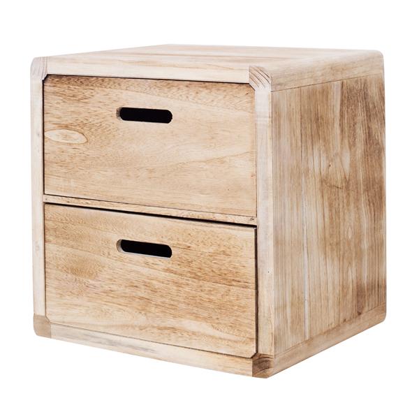 mobili rebecca chevet table de nuit 2 tiroirs bois marron. Black Bedroom Furniture Sets. Home Design Ideas
