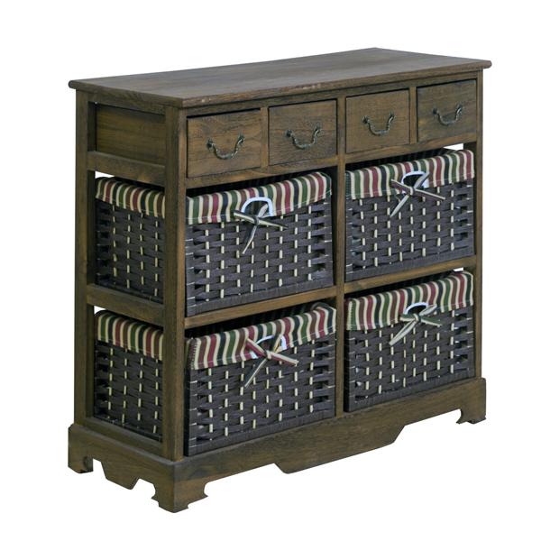 mobili rebecca commode meuble de rangement 8 tiroirs bois osier marron chambre ebay. Black Bedroom Furniture Sets. Home Design Ideas