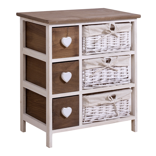 mobili rebecca meuble de rangement 6 tiroirs bois osier blanc marron coeur ebay. Black Bedroom Furniture Sets. Home Design Ideas