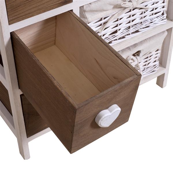 mobili rebecca meuble de rangement 6 tiroirs bois osier blanc marron coeur ebay. Black Bedroom Furniture Sets. Home Design Ideas