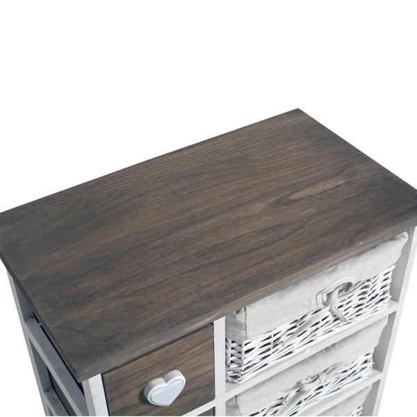 Mobili rebecca commode meuble de rangement 8 tiroirs bois for Meuble tiroir osier blanc