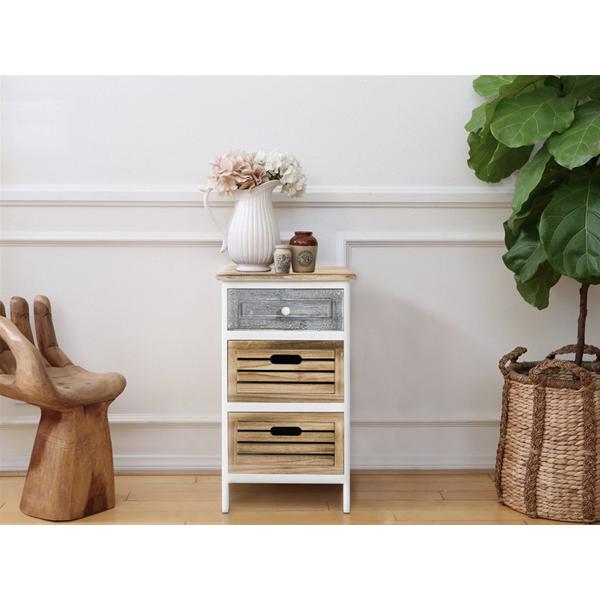 mobili rebecca commode table de chevet 3 tiroirs bois clair gris blanc vintage chambre cuisine