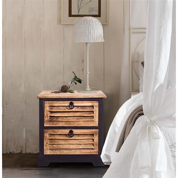 Comodini mobiletto 2 cassetti legno marrone naturale urban for Mobiletto camera