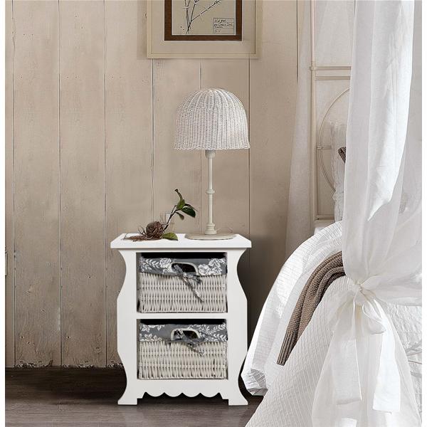 Comodini Camera Da Letto Bianco : Mobili rebecca comodino ceste legno vimini bianco