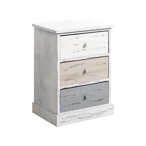 Comodini rebecca natural shabby vintage bianco beige 3 cassetti bagno camera ebay - Mobili legno bianco anticato ...