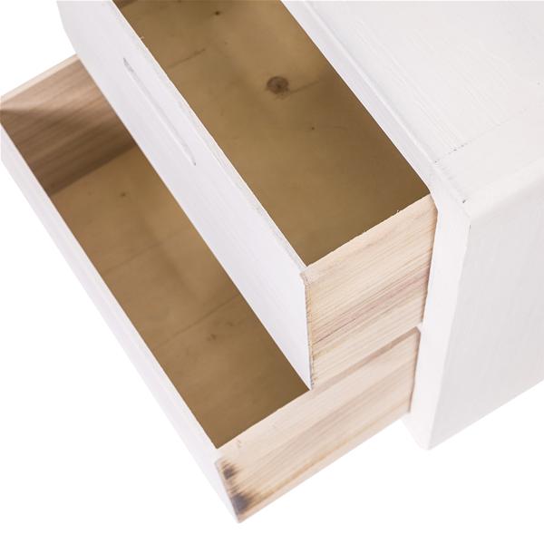 Mobili rebecca comodino cassettiera 2 cassetti legno for Mobili legno bianco anticato