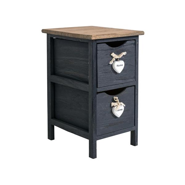 mobili rebecca comodino mobiletto 2 cassetti grigio legno