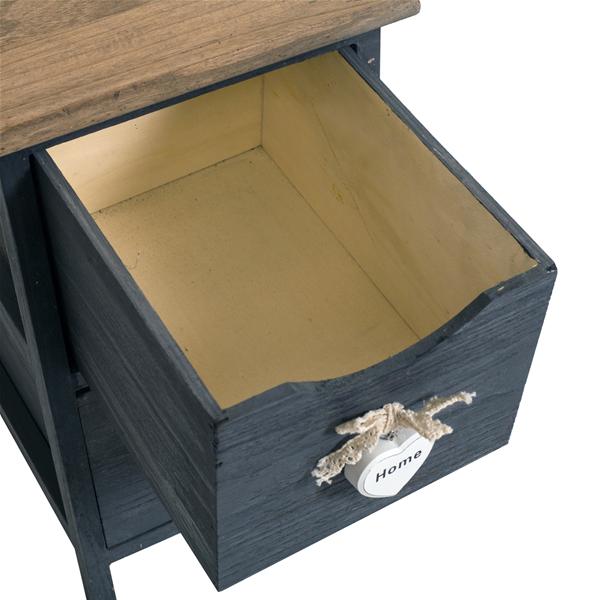 Mobili rebecca comodino mobiletto 2 cassetti grigio legno for Mobiletto camera