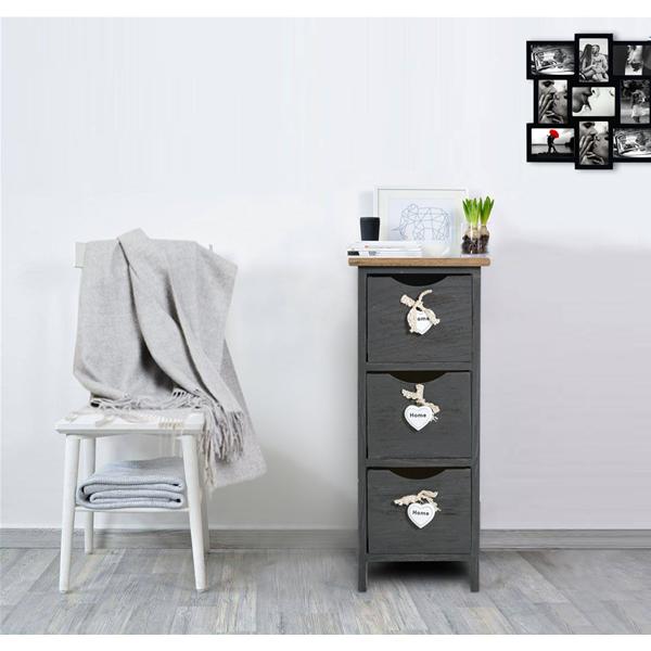Mobili rebecca comodino mobiletto 3 cassetti grigio legno for Mobiletto camera