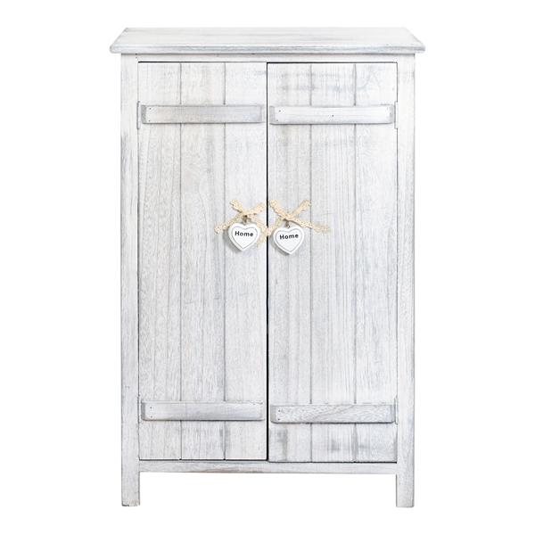 Mobili rebecca comodino mobiletto 2 ante legno bianco for Mobili legno bianco anticato