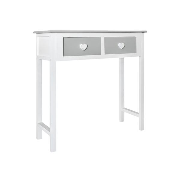 Consolle tavolo 2 cassetti bianco grigio shabby cuore for Consolle shabby ebay