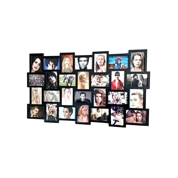 Portafoto mosaico 28 foto nero cornice multipla fotografie - Portafoto multipli da parete ...