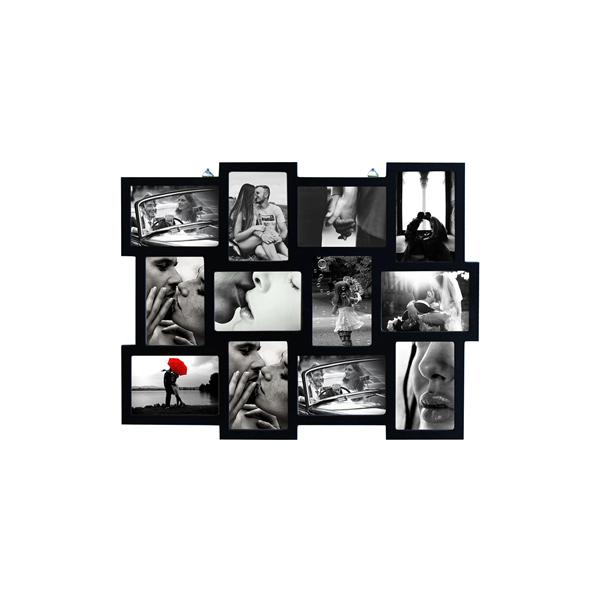 Portafoto multiplo cornice mosaico quadro nero 12 foto for Cornici foto multiple
