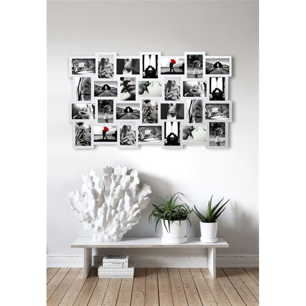 Mobili rebecca portafoto multiplo cornice da parete 28 foto bianco arredo casa ebay - Cornici foto da parete ...